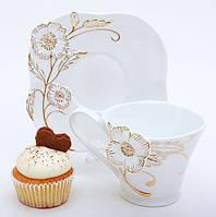 Чайный набор Золотой цветок: чашка 220мл + блюдце