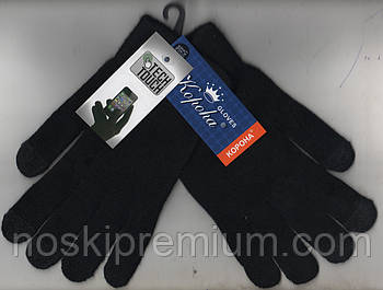 Перчатки унисекс шерстяные одинарные с начёсом Tech Touch Корона, для смартфонов, чёрные, 7075