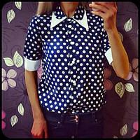 Блузка нарядная женская Синий Горошек