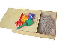 Кинетический песок 1 кг WABA FUN и деревянная песочница с крышкой
