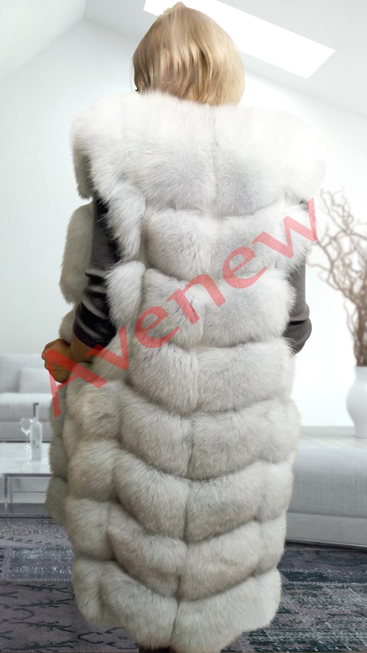 Жилет натуральный  мех песец удлиненный 90 см белый