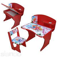 Парта стол детский с регулировкой высоты со стульчиком BABY ELIT Принцессы со стулом
