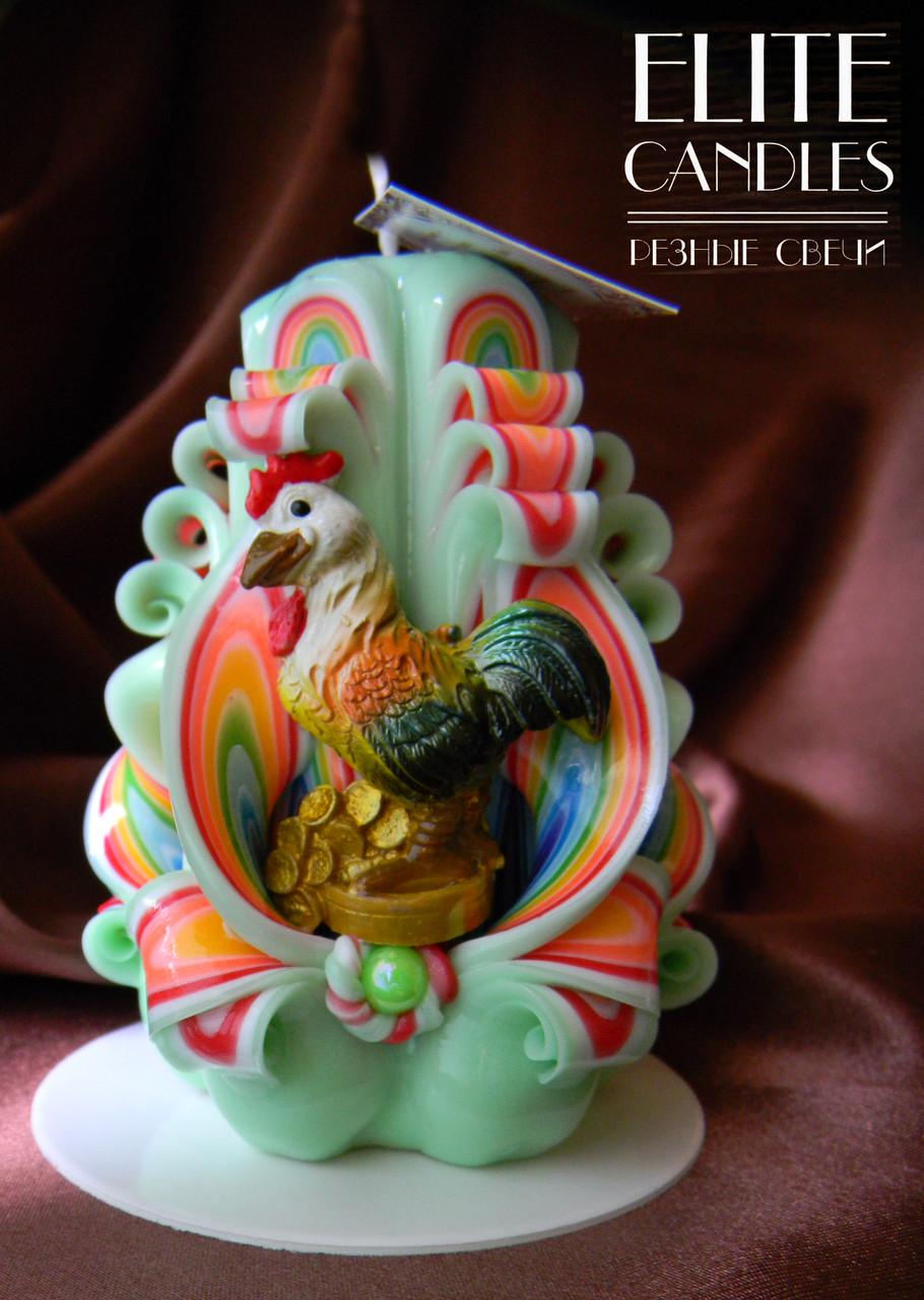 Свеча с петухом на новый год, ручной работы, красивых новогодних ярких цветов