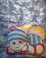 Голубой матрасик и подушечка для новорожденного