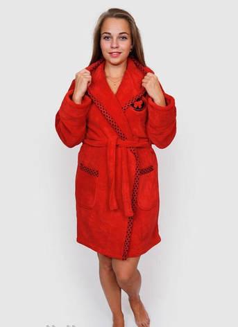 Махровый халат женский красных оттенков, фото 2