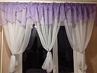 """Готовая тюль на кухонное окно с подхватами """"Фиалка"""", фото 1"""