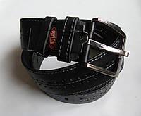 Ремень кожаный 'Prick' 45 мм черный со строчками и перфорацией