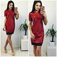 Платье короткое кожаное с отделкой кружевом НН! 1081