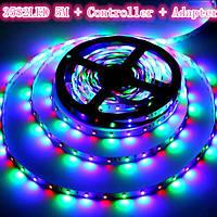 Гнучка світлодіодна LED стрічка-гірлянда 3528 RGB кольорова 5м + пульт + блок