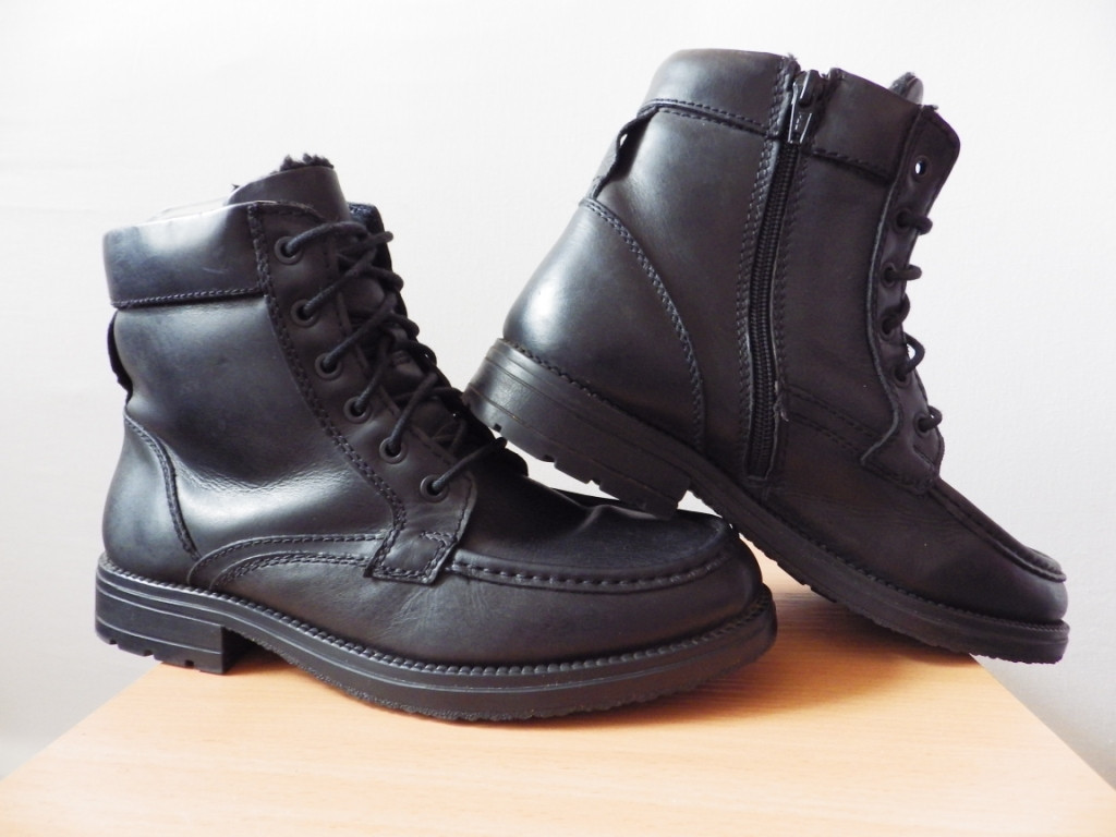 Мужские зимние ботинки с мехом р-р 41 (26-26,5см)  (сток, б/у) кожаная обувь