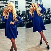 Платье с турецким набивным гипюром синее