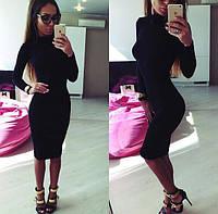 Платье футляр (48-52) горло стойка, миди, длинный рукав, трикотажное платье осень - весна - зима черное, фото 1