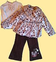 Костюм бежевый для девочки: пятнистая шубка, брюки, гольфик, р. 80 см