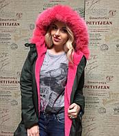 Зимняя куртка - парка с натуральным ярко-розовым мехом песца