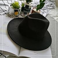 Шляпа женская фетровая Федора с устойчивыми полями черная, фото 1