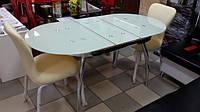 Стол обеденный стеклянный овальный ТВ042 бежевый, 120/150*75*75 см