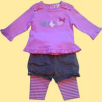 """Комплект розовый для девочки, """"Пеппи"""": блуза, лосины, шортики 9"""