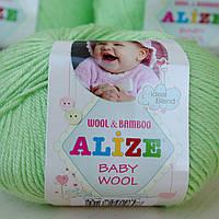 Нитки для вязания Baby Wool полушерсть нежная зелень