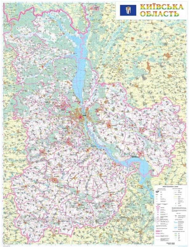 Настенная карта Киевской области 110x150 см, М1:200 000 - на планках