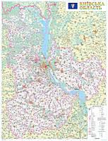 Настенная карта Киевской области 110x150 см, М1:200 000 - на планках, фото 1