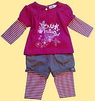"""Комплект бордовый для девочки, """"Пеппи"""": блуза, лосины, шортики 9, 12"""