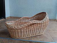 Плетеная корзина-люлька из капюшоном переносная из лозы
