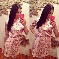 Платье с цветочным принтом, ткань шифон-атлас