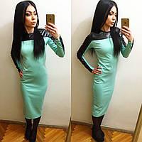 Трикотажное платье миди с вставкой из эко кожи