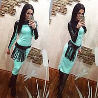 Трикотажное платье миди с кожаными вставками и поясом