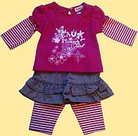 """Комплект бордовый для девочки, """"Пеппи"""": блуза, лосины, юбка 6,12"""