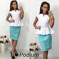 Женский костюм баска и юбка, ткань габардин