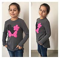 Детская стильная туника из ангоры с бантиком \ розовый