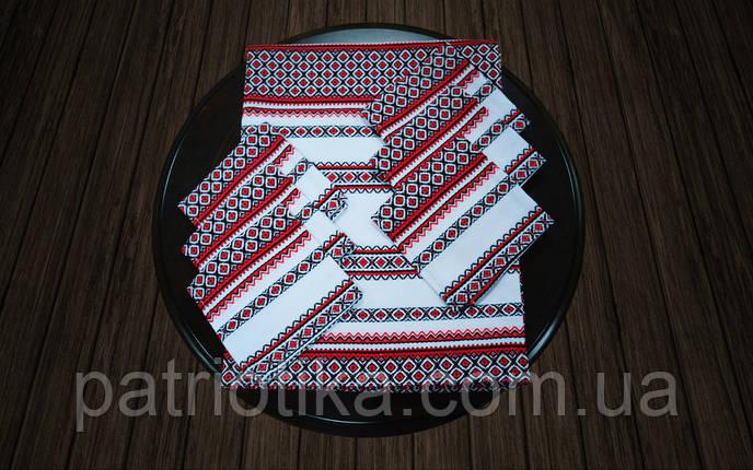 Комплект столовый красный | Комплект столовий червоний 190х140, фото 2
