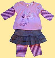 """Комплект розовый для девочки, """"Пеппи"""": блуза, лосины, юбка 6, 9"""