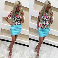 Женский костюм цветочная блуза+юбка лен