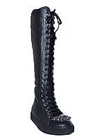 Женские кожаные зимние сапоги на низком ходу, с камнями на носке