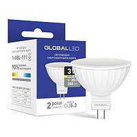 Лампа Global LED MR16 3W (25Вт), 3000K (мягкий свет), 220V, цоколь GU5.3, 1-GBL-111