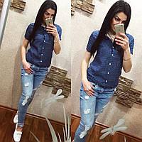 Женская джинсовая рубашка на пуговицах