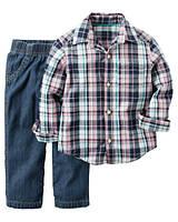 Комплект для мальчика Carters с рубашкой Клетка, Размер 4T, Размер 4T