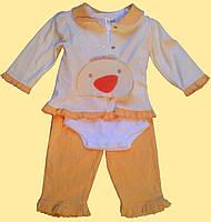 """Комплект одежды для новорожденной """"Цыпленок"""": кофточка, боди, брючки"""