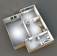Однокомнатные квартиры 45,80 кв.м. 12 этаж__30000