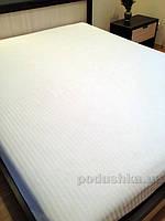 Простынь на резинке Билана страйп-сатин 180х200 см белая с жаккардовой полоской