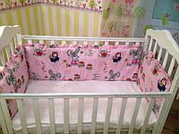 Защита для детской кроватки Билана З120  зайцы на розовом