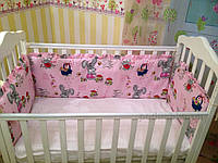 Защита для детской кроватки Билана З120  зайцы на бежевом