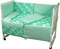 Спальный комплект для детской кроватки Руно 977 Клеточка зеленый