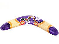 Деревянный бумеранг фиолетовый расписной