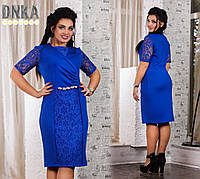 Женское нарядное платье с украшением на талии Большие размеры от 50 до 56 DGат1087