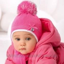 Комплект зимний: шапка с шарфом с помпонами для девочки (AJS, Польша)