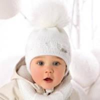 Комплект зимний Косички: шапка с шарфом для девочки