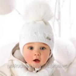 Комплект зимний Косички: шапка с шарфом для девочки (AJS, Польша)